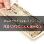 FX、資金1万円でいくら儲かる?初心者がやるべき3ヶ月チャレンジ